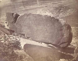 View of rock with Asoka inscriptions, showing eastern face with edicts I-XI, Shahbazgarhi, Peshawar District 10031140